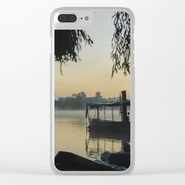 Mist Lake Silhouette Clear iPhone Case