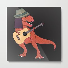 She-Rex Hipster Acoustic Metal Print