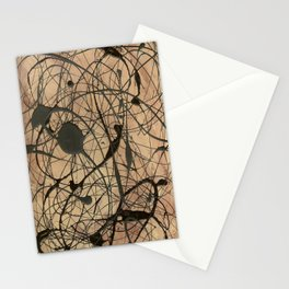 Pollock Inspired Abstract Black On Beige Corbin Art Contemporary Neutral Colors Stationery Cards