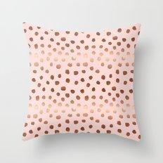 Rose Gold pastel pink polka dot painted metallic pattern basic minimal pattern print Throw Pillow