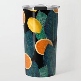 Lemons And Oranges On Black Travel Mug