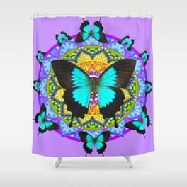 PURPLE AMETHYST BLUE-BLACK BUTTERFLY MANDALA ART Shower Curtain