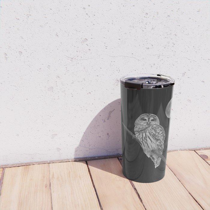 Owl, See the Moon (bw) Travel Mug
