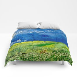 Vincent van Gogh Wheatfield Under Thunderclouds Oil Painting Comforters
