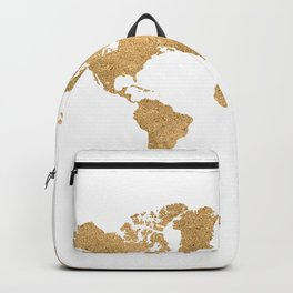 GOLD GLITTER WORLD MAP Backpack