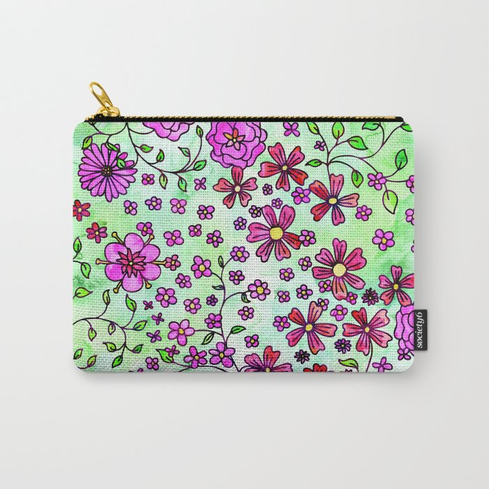 Pink Small Flowers Carry-All Pouch