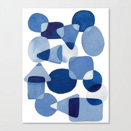 Blue Watercolour Geometric Canvas Print