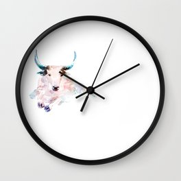 Pink bull. Wall Clock