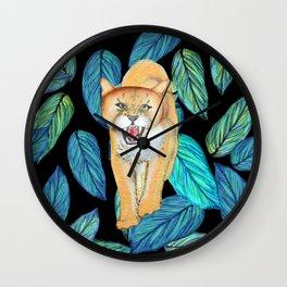 Wild Lioness prowling Wall Clock