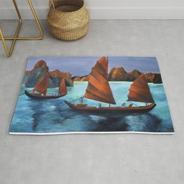 Junks In the Descending Dragon Bay Rug