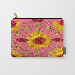 Jeweled Ruby Yellow Sunflowers July Birth Art Carry-All Pouch
