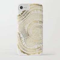 tree rings iPhone & iPod Cases featuring Gold Tree Rings by Cat Coquillette