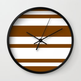 Mixed Horizontal Stripes - White and Chocolate Brown Wall Clock