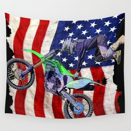 High Flying Freestyle Motocross Rider & US Flag Wall Tapestry