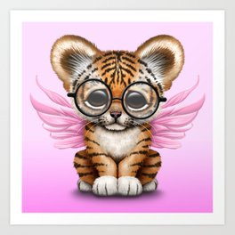 Tiger Cub with Fairy Wings Wearing Glasses on Pink Art Print