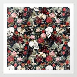 Vintage Floral With Skulls Art Print