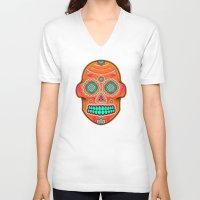 sugar skull V-neck T-shirts featuring Sugar Skull by Good Sense