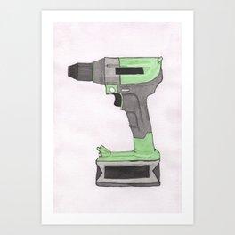 Power Drill Watercolor Art Print