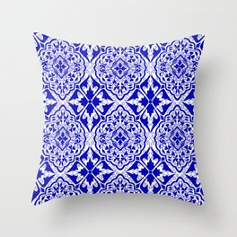 BOHEMIAN PALACE, ORNATE DAMASK: BLUE and WHITE Throw Pillow