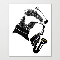 saxophone Canvas Prints featuring Badger Saxophone by mailboxdisco