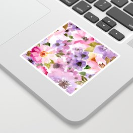 Pink Purple Watercolor Flowers Sticker