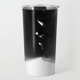 Silhouette of two beautiful woman kissing each other Travel Mug