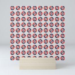Simple geometric discs pattern red and silver Mini Art Print