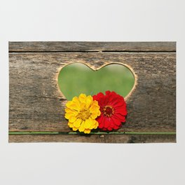Wooden Heart with Flowers Rug