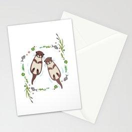Otter Flower Leaf Stationery Cards
