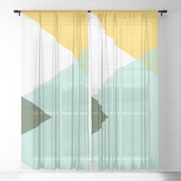 Geometrics - citrus & concrete Sheer Curtain