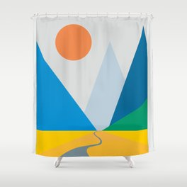 Road dwindling upon the mountains vintage artwork Shower Curtain