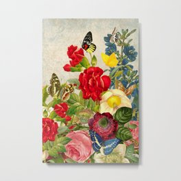 vintage flower butterfly art rose Metal Print