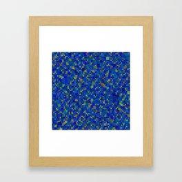 Abstract blue geometrical cubism pattern Framed Art Print