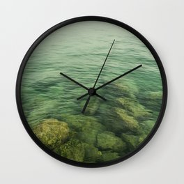 Rock, stones, pebbles photographed under the water surface Wall Clock