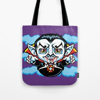cunt Tote Bags featuring Cunt Dracula by harebrained