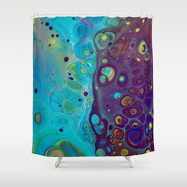 Where Blues Collide - Abstract Acrylic Art by Fluid Nature Shower Curtain
