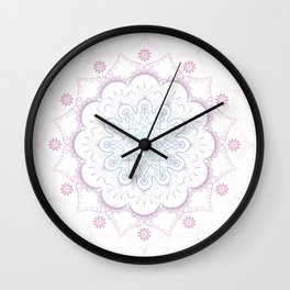 Mandala in pink and blue Wall Clock