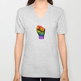 Gay Pride Rainbow Flag on a Raised Clenched Fist Unisex V-Neck