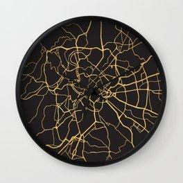 ROME ITALY GOLD ON BLACK CITY MAP Wall Clock