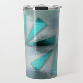 Turquoise Triangles On Blue Grey Backdrop Travel Mug