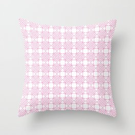 geometric pattern concentric squares pink Throw Pillow