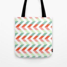 Chevron Raspberry and Peach - Geometric pattern  Tote Bag