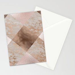Copper and Blush Rose Gold Marble Gingham Stationery Cards
