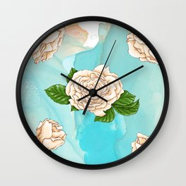 White roses on turquoise sky blue watercolor background Wall Clock