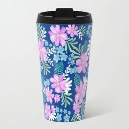 Watercolor flower bouquets- blue Travel Mug