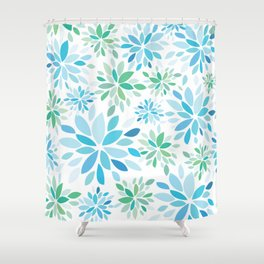Nature's Healing Mandala Blue Shower Curtain
