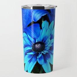 Electric Blue Flowers Travel Mug