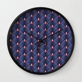 Pattern flower peacock Wall Clock
