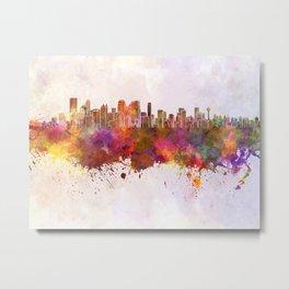 Calgary skyline in watercolor background Metal Print