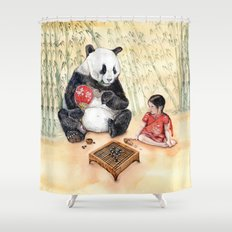 Playing Go with Panda Shower Curtain